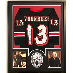 "Ari Lehman Signed ""Voorhees"" 34x42 Custom Framed Jersey Display Inscribed ""Jason 1"" (Lehman Hologram"