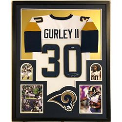 Todd Gurley Signed Los Angeles Rams 34x42 Custom Framed Jersey (Beckett COA)