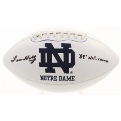 "Lou Holtz Signed Notre Dame Fighting Irish Logo Football Inscribed """"88' Nat. Champs"" (Beckett COA)"