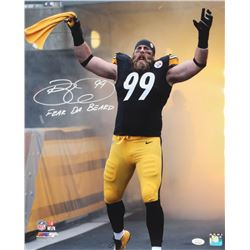 "Brett Keisel Signed Pittsburgh Steelers 16x20 Photo Inscribed ""Fear Da Beard"" (JSA COA)"