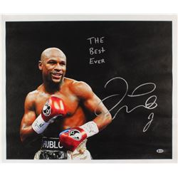 """Floyd Mayweather Signed 22x26 Print On Canvas Inscribed """"The Best Ever"""" (Beckett COA)"""