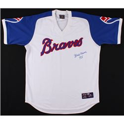 "Hank Aaron Signed Atlanta Braves Jersey Inscribed ""755"" (Beckett COA)"