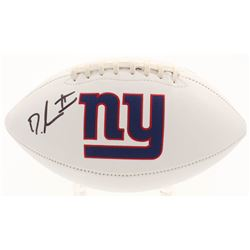 Dexter Lawrence Signed New York Giants Logo Football (Beckett COA)