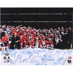 2015 Chicago Blackhawks Team Signed Stanley Cup 16x20 Photo Signed By (23) with Patrick Sharp, Brand