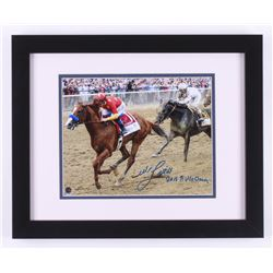"""Mike E. Smith Signed 2018 Belmont Stakes 13x16 Custom Framed Photo Display Inscribed """"2018 Triple Cr"""