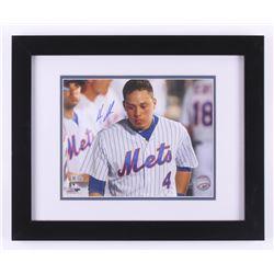 Wilmer Flores Signed New York Mets 13x16 Custom Framed Photo Display (Steiner COA  MLB Hologram)