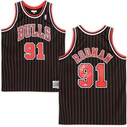 """Dennis Rodman Signed Chicago Bulls Jersey Inscribed """"HOF 2011"""" (Fanatics Hologram)"""