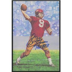 Sonny Jurgensen Signed 1991 LE Washington Redskins 4x6 Pro Football Hall of Fame Art Collection Card