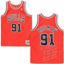 Dennis Rodman Signed Chicago Bulls Limited Edition Jersey with Multiple Stat Inscriptions (Fanatics