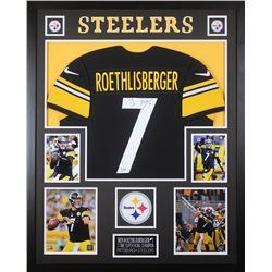 Ben Roethlisberger Signed Pittsburgh Steelers 35x43 Custom Framed Jersey (Fanatics Hologram)