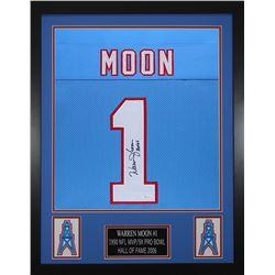Warren Moon Signed Houston Oilers 24x30 Custom Framed Jersey (JSA COA)