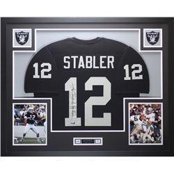 """Ken Stabler Signed Oakland Raiders 35x43 Custom Framed Jersey Inscribed """"Snake"""" (Radtke COA  Stabler"""