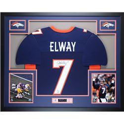 John Elway Signed Denver Broncos 35x43 Custom Framed Jersey (JSA COA  GTSM)