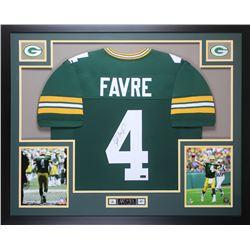 Brett Favre Signed Green Bay Packers 35x43 Custom Framed Jersey (Favre Hologram)