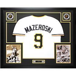 Bill Mazeroski Signed Pittsburgh Pirates 35x43 Custom Framed Jersey (JSA COA)