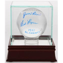 """Jim Rice  Fred Lynn Signed Lead Crystal Baseball Inscribed """"1975 AL Champs"""" with Display Case (Becke"""