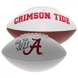 """Nick Saban Signed Alabama Crimson Tide Logo Football Inscribed """"Roll Tide"""" (PSA Hologram)"""