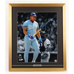 Bo Jackson Signed Kansas City Royals 22x26 Custom Framed Photo Display (Beckett COA)