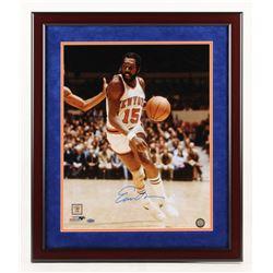 Earl Monroe Signed New York Knicks 22x26 Custom Framed Photo Display (Steiner COA)