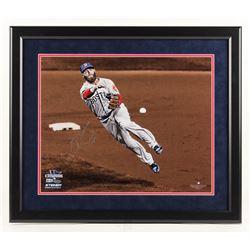 Dustin Pedroia Signed Boston Red Sox 22x26 Custom Framed Photo Display (Steiner COA  MLB Hologram)