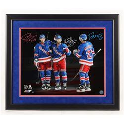 J. T. Miller, Kevin Shattenkirk,  Ryan McDonagh Signed New York Rangers 22x26 Custom Framed Photo Di