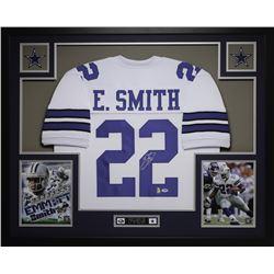 Emmitt Smith Signed Dallas Cowboys 35x43 Custom Framed Jersey (PSA COA  Smith Hologram)