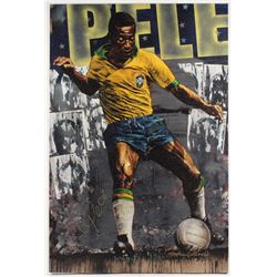 Pele Signed LE 27x40.5 Giclee on Canvas by Stephen Holland (Online Authentics COA)