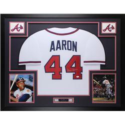 Hank Aaron Signed Atlanta Braves 35x43 Custom Framed Jersey (JSA COA)