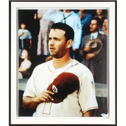 "Tom Hanks Signed ""A League Of Their Own"" 22x26 Custom Framed Print On Canvas (PSA Hologram)"