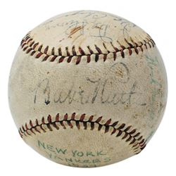 1934 New York Yankees Baseball Multi-Signed by (11) with Babe Ruth, Lou Gehrig, Jimmie DeShong, Ben