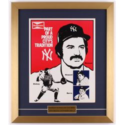 Vintage 1970's Budweiser 17x20 Custom Framed Stand-Up Counter Display with Thurman Munson  Yogi Berr