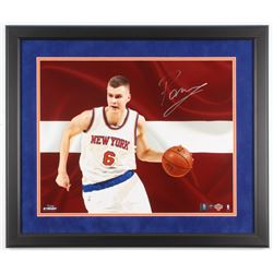 Kristaps Porzingis Signed New York Knicks LE 22x26 Custom Framed Photo Display (Steiner COA)