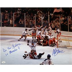 """Mike Eruzione Signed Team USA """"Miracle on Ice"""" 16x20 Photo Inscribed """"Do you Believe in Miracles?"""" ("""