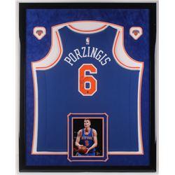 Kristaps Porzingis Signed New York Knicks 34.5x42.5 Custom Framed Jersey Display (Steiner Hologram)