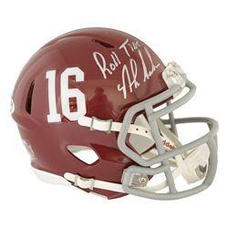 """Nick Saban Signed Alabama Crimson Tide Speed Mini Helmet Inscribed """"Roll Tide"""" (PSA Hologram)"""