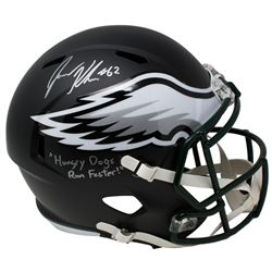 "Jason Kelce Signed Philadelphia Eagles Matte Black Full-Size Speed Helmet Inscribed ""Hungry Dogs Run"