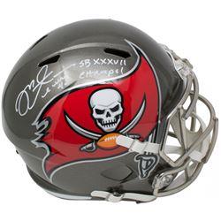 "Mike Alstott Signed Tampa Bay Buccaneers Full-Size Speed Helmet Inscribed ""SB XXXVII Champs!"" (Becke"