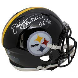 "Jack Lambert Signed Pittsburgh Steelers Full-Size Authentic On-Field Speed Helmet Inscribed ""HOF '90"