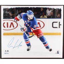 Oscar Lindberg Signed New York Rangerss 22x26 Photo on Canvas (Steiner COA)