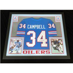 Earl Campbell Signed Houston Oilers 34x44 Custom Framed Jersey (JSA COA)