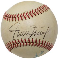 Willie Mays  Eddie Mathews Signed OAL Baseball (PSA LOA)