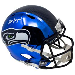 Steve Largent Signed Seattle Seahawks Full-Size Blue Chrome Speed Helmet (Beckett COA)