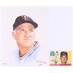 "Lot of (2) with 1955 Topps #124 Harmon Killebrew RC  Harmon Killebrew Signed LE ""Living Legends"" 8x1"