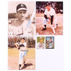 Lot of (5) with (3) Enos Slaughter 8x10 photos  (2) Enos Slaughter Signed Baseball Cards (JSA COA  A