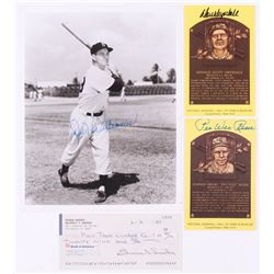 Lot of (4) Dodgers Legends Signed Items with (2) Pee Wee Reese  Don Drysdale Signed Hall of Fame Pos