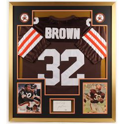 Jim Brown Signed Cleveland Browns 34x38 Custom Framed Cut Display with Jersey (PSA COA)