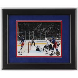 Scott Gomez Signed New York Rangers 13.25x16.5 Custom Framed Photo Display (Steiner COA)