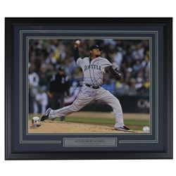 "Felix Hernandez Signed Seattle Mariners 22x27 Custom Framed Photo Display Inscribed ""CY Young 2010"""