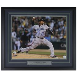 "Felix Hernandez Signed Seattle Mariners 22x27 Custom Framed Photo Display Inscribed ""King Felix"" (JS"