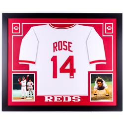 "Pete Rose Signed Cincinnati Reds 35x43 Custom Framed Jersey Inscribed ""4256"" (JSA COA)"